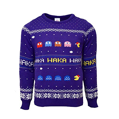 Numskull Unisex Official Pac-Man Knitted Christmas Jumper for Men or Women - Ugly Novelty Sweater Gift Blue