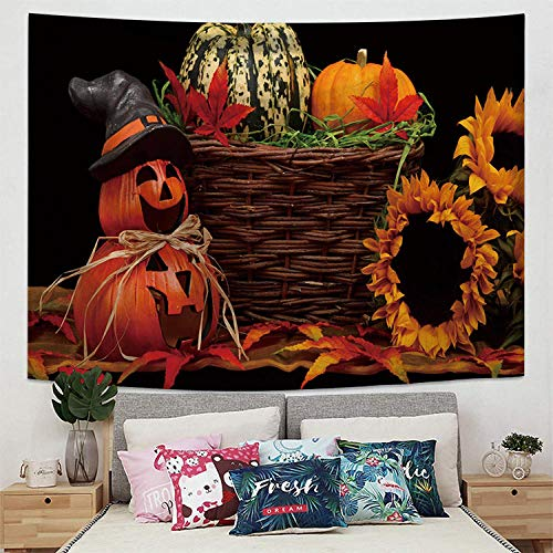Bohemia Colgante De Pared Mantas para Sofa Tapiz De Calabaza Multifuncional De Halloween Tapestry Decoración De Pared para Dormitorio Sala De Estar 200X150Cm