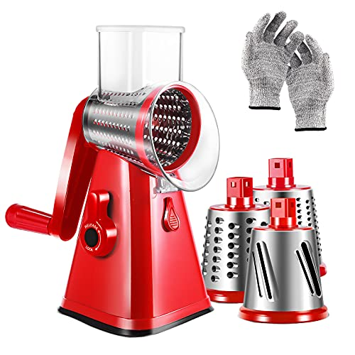 3-in-1 Rotary Cheese Grater Manual Shredder Spiralizer with Interchangeable Stainless Steel Drum Blades Vegetable Fruit Mandoline Slicer with Suction Cup Base