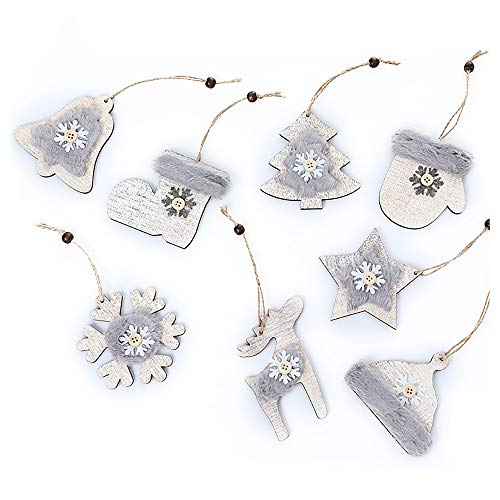8pcs Wooden Ornaments Finished Set Natural Wood Slices Wooden Pendants Kit Hanging Ornaments for Tree Valentine's Day