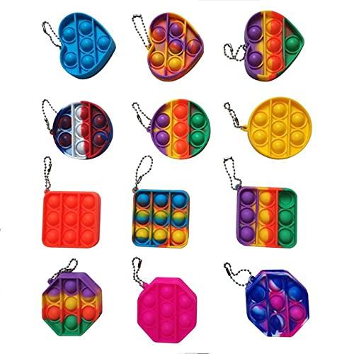 JHXXXL Mini pop fidget toy keychain,Pop Bubble Fidget Sensory Toys(12PACK) -Party Favors, Goody Bag Filler,Prizes, Rewards-Christmas Stocking Stuffer for Kid Simple Dimple(Random color)