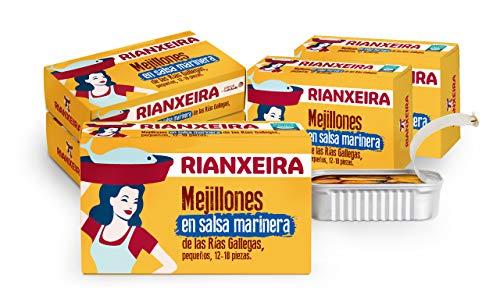 RIANXEIRA. Mejillones Pequeños en Salsa Marinera, Packs de 8 Latas de Mejillones de las Rías Gallegas en Conserva con Salsa Tradicional Marinera, Presentación 12-18 piezas.