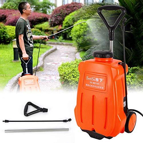 XHLY 16L Mochila pulverizador de Mochila eléctrico Jardín Jardín Rueda pulverizador pulverizador de malezas Dolly Cesta Recargable de la batería Naranja