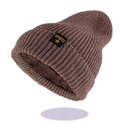 Bonnet Unisexe Chapeau tricoté Homme Beanie Hats, Mode Hommes Hiver Chapeau Chaud pour Les Femmes Bonnets Skullies Coton Tricoté Chapeaux Casquettes Marque Bonnet @ Khaki_52-62cm