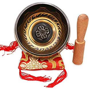Customer reviews Singing Bowl - Exqline Silent Mind Tibetan Singing Bowl Set 11.5 CM, Great For Mindfulness Meditation, Relaxation, Stress & Anxiety Relief, Chakra Healing, Yoga, Zen, Perfect Spiritual Gift with Stick and Cushion