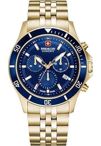 Swiss Military Hanowa Unisex Erwachsene Analog Quarz Uhr mit Edelstahl Armband 06-5331.02.003