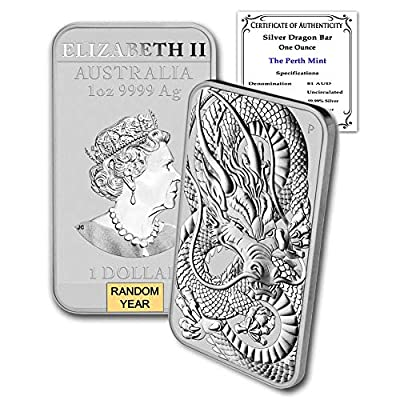 2019 - Present 1oz Silver Bar Australia Perth Mint Dragon Series Coin $1 Brilliant Uncirculated