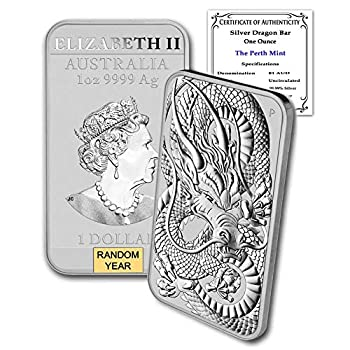 2018 - Present  Random Year  1 oz Silver Bar Australia Perth Mint Dragon Series Rectangular Coin Brilliant Uncirculated with Certificate of Authenticity by CoinFolio $1 BU