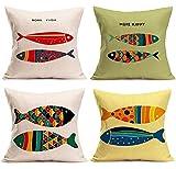 4Pcs Funda de Cojine Peces de Colores 50x50cm Funda de Almohada Terciopelo Decorativa Funda de Cojines Cuadrado con...