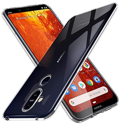 KuGi. Cover Nokia 8.1, Nokia 8.1 Custodia Trasparente Silicone Cover Morbida TPU Caso, Anti Scivolo& Anti-Urto Case Adatto per Nokia 8.1(Trasparente)