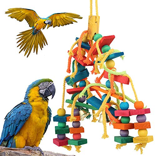 ATopoler Papagei Spielzeug Farbe Holz Perfekte Vogel Holz Spielzeug Vogel Seil Papagei Schaukel Natürliche Ungiftige Sichere Kauen, Gegen die Tägliche Langweilige Zeit, für Alle Papageien und Vogel