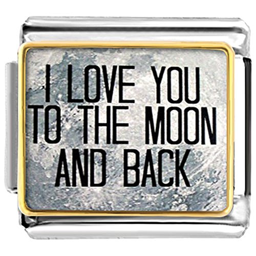 Pugster I Love You To The Moon And Back  Etched Italian Charm Sale fit Link Bracelet