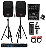 2) Rockville BPA12 12' Active 600w DJ PA Speakers+Mackie Mixer+Stands+Mic+Cables