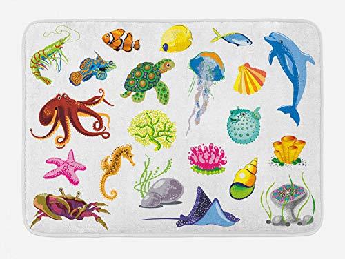 "Ambesonne Marine Bath Mat, Sea Animals Octopus Dolphin Shells Stingray Crab Turtle Jellyfish Wildlife Graphic, Plush Bathroom Decor Mat with Non Slip Backing, 29.5"" X 17.5"", White Green"