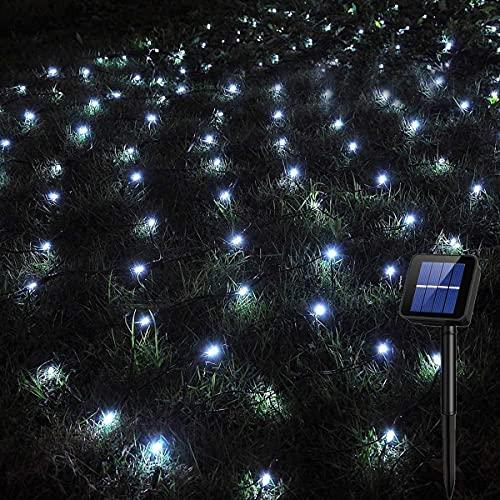 Solar LED Lichternetz,SUAVER Wasserfest 200LEDs Solar Lichterkette,3x2M Outdoor Lichtervorhang,8 Modi Net Mesh Deko Leuchte für Weihnachten Garten Party Hochzeit Schlafzimmer (Weiß)