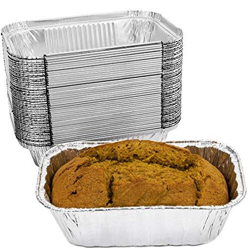 50 Pack Aluminum Foil Pans Disposable Aluminum Loaf Pans for Bread 6.8 x 4.3 Inch Aluminum Foil Tins for Baking Cakes Meatloaf Lasagna