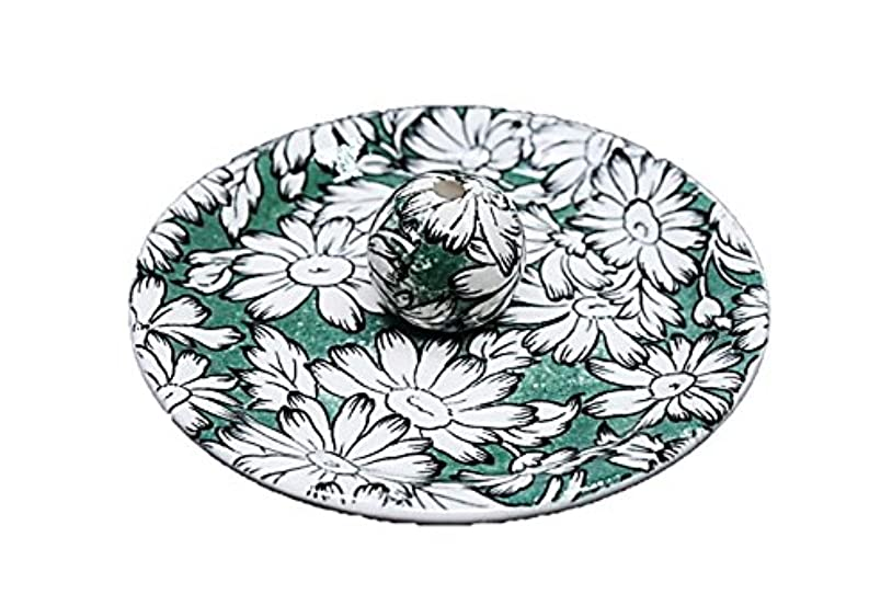 いまシーフード目を覚ます9-10 マーガレットグリーン 9cm香皿 お香立て お香たて 陶器 日本製 製造?直売品