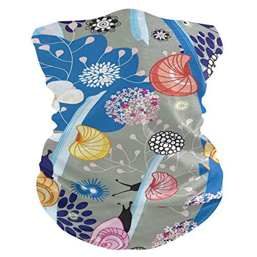PINLLG - Bandana de flores coloridas con caracol con filtro para la cara, lavable, para deportes de polvo, bufanda mágica, cuello polaina, multifuncional, accesorio para la cabeza