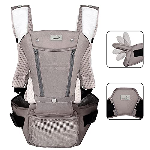 Ergonomic Baby Carrier All Seasons Foldable Hip Seat With Lumbar Support for Newborns to Toddler 8-65 lbs