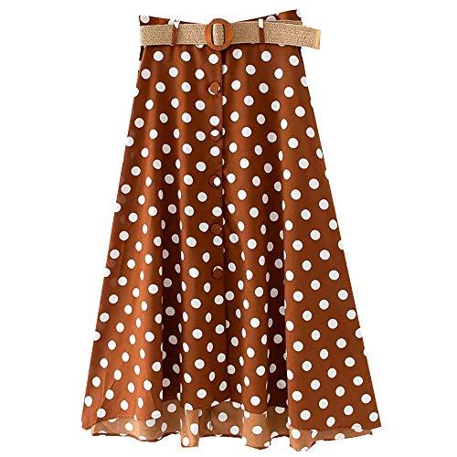 NOBRAND - Cinturón de moda para primavera y verano con falda de lunares para mujer Marrón marrón claro 36
