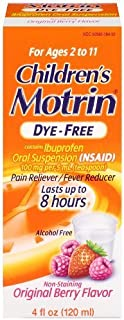 Motrin Children's Dye-Free Pain Reliever and Fever Reducer, 4 Fluid Ounce-2 Packs
