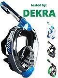 Khroom CO2 sichere Schnorchelmaske Vollmaske 2019 | bekannt aus YouTube | Seaview X - Tauchermaske für Erwachsene und Kinder. (Blau, L/XL)