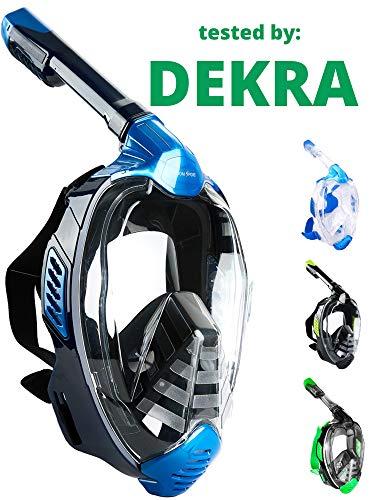 Khroom® CO2 sichere Schnorchelmaske Vollmaske 2019 | bekannt aus YouTube | Seaview X - Tauchermaske für Erwachsene und Kinder. (Blau, L/XL)
