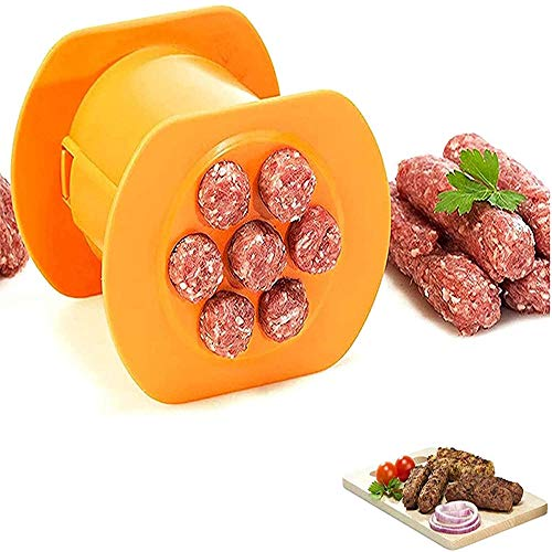 dorit One Press Cevapcici Maker, 7 Sausages in One Press, Non Stick Kitchen Barbecue Grilling Party Molds, Kitchen Hot Dog Burger Meat Sausage Handmade Gadget Tool-1pc
