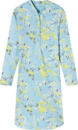 Schiesser Damen Sleepshirt 1/1 Arm, 100Cm Nachthemd, Blau (Aqua 833), 40