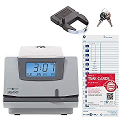 Pyramid Time Systems, Model 3500 Multi-Purpose Time Clock and Document Stamp, includes 25 time cards, ribbon, 2 security keys and user guide, Made in the USA