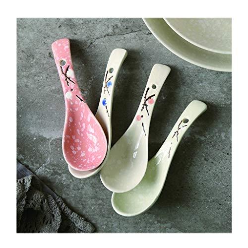 Cuillères à soupe Céramique Petite cuillère/neige Glaze Creative Arts de la table/ménage cuillère, divers modèles d'impression, rose/blanc, Appetizer/dessert Cuillère de table