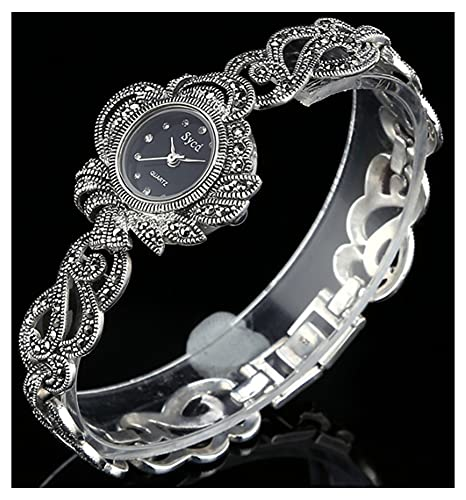 CHXISHOP Reloj de Pulsera Retro gótico Negro 925 Reloj de Movimiento de Cuarzo de Plata esterlina Reloj Oval Diseño con Incrustaciones de Diamante con Incrustaciones Reloj de black-18.5cm