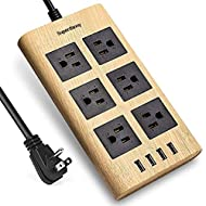 9.8ft Wood Power Strip USB Surge Protector SUPERDANNY 15A 14AWG Extension Cord Right Angle Flat Plug 6 Outlets 4 USB Fast Charging Ports Adjustable Voltage for iPhone iPad Home Indoor Office Desktop