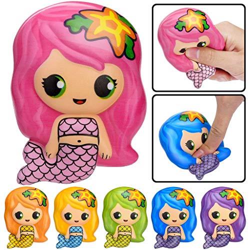 VWsiouev Squishies Toys Squishy Adorable Sirena de crecimiento lento de frutas aromáticas para aliviar el estrés, juguetes para fiestas de cumpleaños, regalos para niños y adultos (rosa)