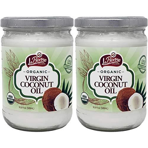La Bonne Organic Virgin Coconut Oil, 16.9 Fl Oz Glass Jar (Pack of 2, Total of 33.8 Oz)