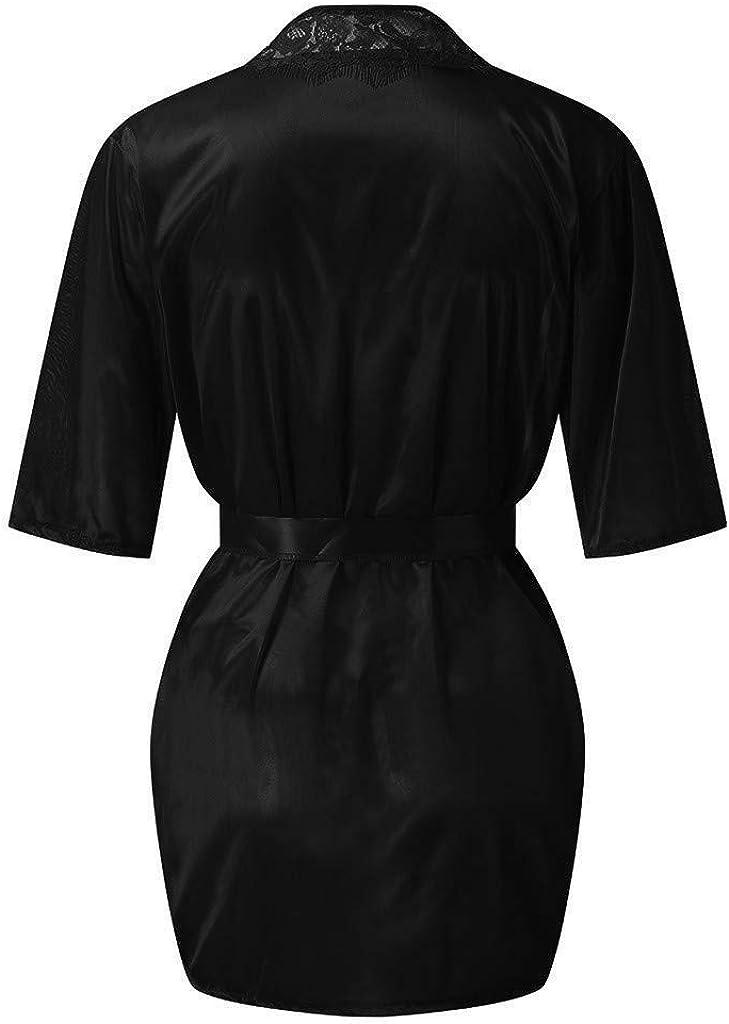 Womens Silk Pajamas Set Nightdress Soft Robe Lace Chemise Lingerie Underwear Set Sleepwear Nightgown Skirt