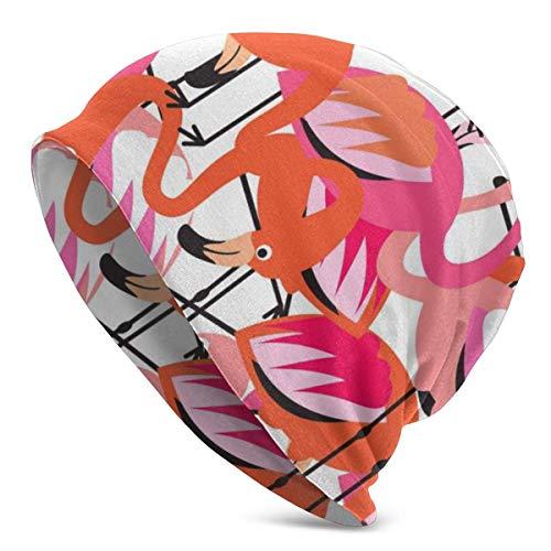 Sombrero de playa tropical con estampado de flamencos turbante para hombre y mujer, gorro de punto para invierno, cálido, color negro