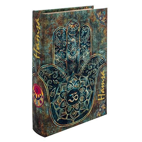 BY SIGRIS Signes Grimalt Libros Decorativos   Caja Libro de Madera - Diseño Mano de Fátima, 26x5x17 cm