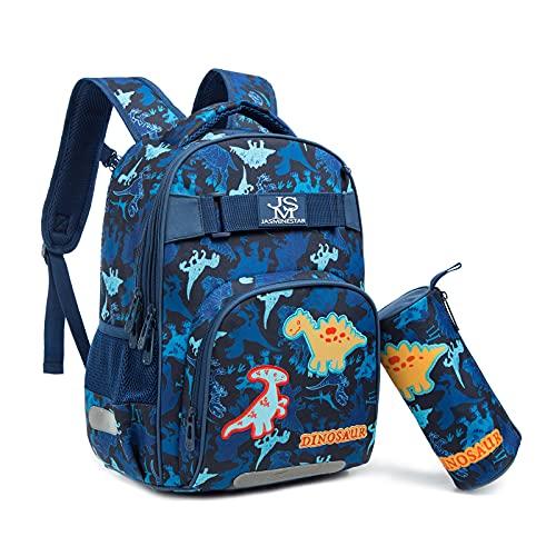 Wenlia Mochila para niños y niñas con estuche para lápices, mochila escolar de viaje para estudiantes con bolsillos laterales Unicornio Dinosaurio Mochilas informales - Regalo para niños