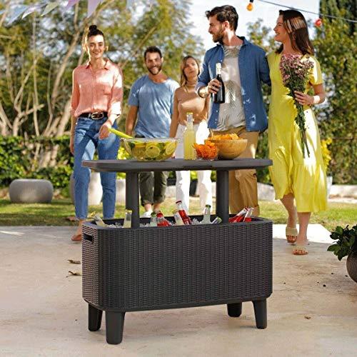 Keter 60 Litre Cool Box 63 US Quart Bevvy Bar Cooler PartyGarden Table