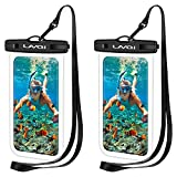 LANQI 2 Pcs Universal Waterproof Phone Pouch,Waterproof Phone Case, Underwater Phone Dry Bags for iPhone 12/12 Pro/11 Pro Max/XR/SE/XS/8 7 6S Plus, Samsung Galaxy, and Other Phones Up to 6.9''-Black