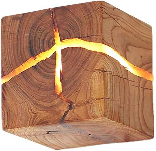 Wandlamp hout heldere commerciële verlichting de originele creatieve wandlamp Solid nachtkastje Aisle betrouwbare decoratiestructuur 's nachts hout wandlampen 8 * 8 * 8cm HOUT