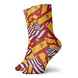 yting Calcetines casuales de la bandera de España con calcetines de la bandera de América Calcetines de compresión de vestido corto para mujeres Hombres