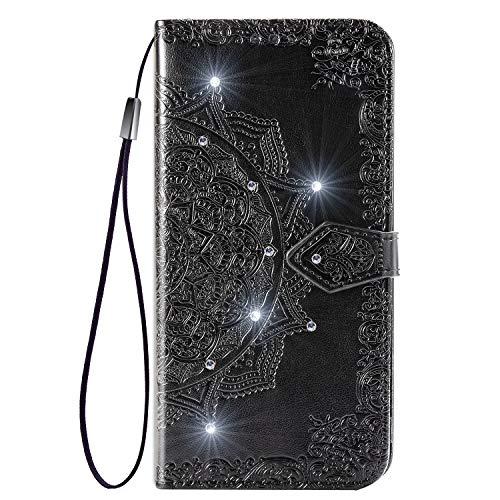 Hülle für Galaxy Xcover Pro Hülle Leder,[Kartenfach & Standfunktion] Flip Case Lederhülle Schutzhülle für Samsung Galaxy Xcover Pro - EYSD031844 Schwarz