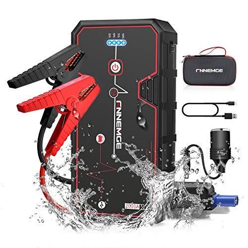 FNNEMGE Starthilife Powerbank 21800mAh 2000A Spitzenstrom Auto Starthilfe Tragbare Starthilfegerät, für 12V Auto(bis zu 8.0L Gasmotor oder 6.5L Dieselmotor),QC3.0 Schnellladung, LED Taschenlampen