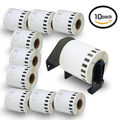 10巻セット ラベル (62mm x 15.24m) ブラザー工業 Brother 互換 DK-2212 感熱ラベルプリンタ + 専用互換カセットフレーム(ロール交換可能タイプ)2個 セット