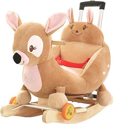 Bcaer Schaukelpferd Feste Schaukelpferd des Holzes Kinder mit Musik kleinen Universalrad Stuhl Kinder mit Schubstange Spielzeug Schaukel,Brown
