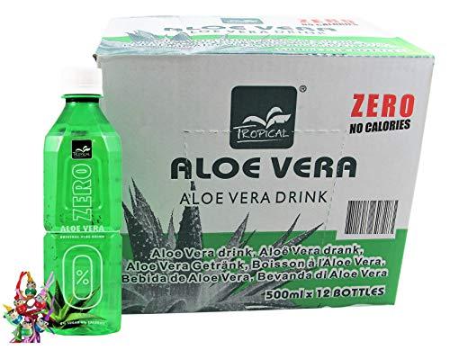 yoaxia ® - 12er Pack - [ 12x 500ml ] TROPICAL Aloe Vera Getränk ZERO / mit 20% Aloe / 0% Zucker + ein kleines Glückspüppchen - Holzpüppchen