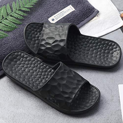 CSLOKTY 2 PCS Femmes Indoor étage Chaussures Plates été Flip Antidérapante Flops De Bain Pantoufles Femme Slipper Confortable Black-40/41