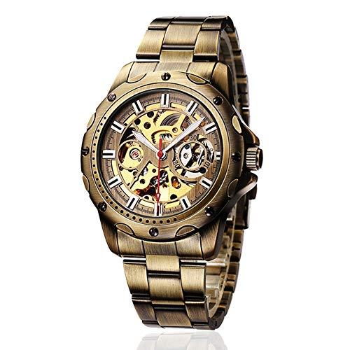 Excellent Mens-Skeleton Uhr-automatische Selbstwindmechanische Mens-Edelstahl-Armbanduhr Hohle,Bronze